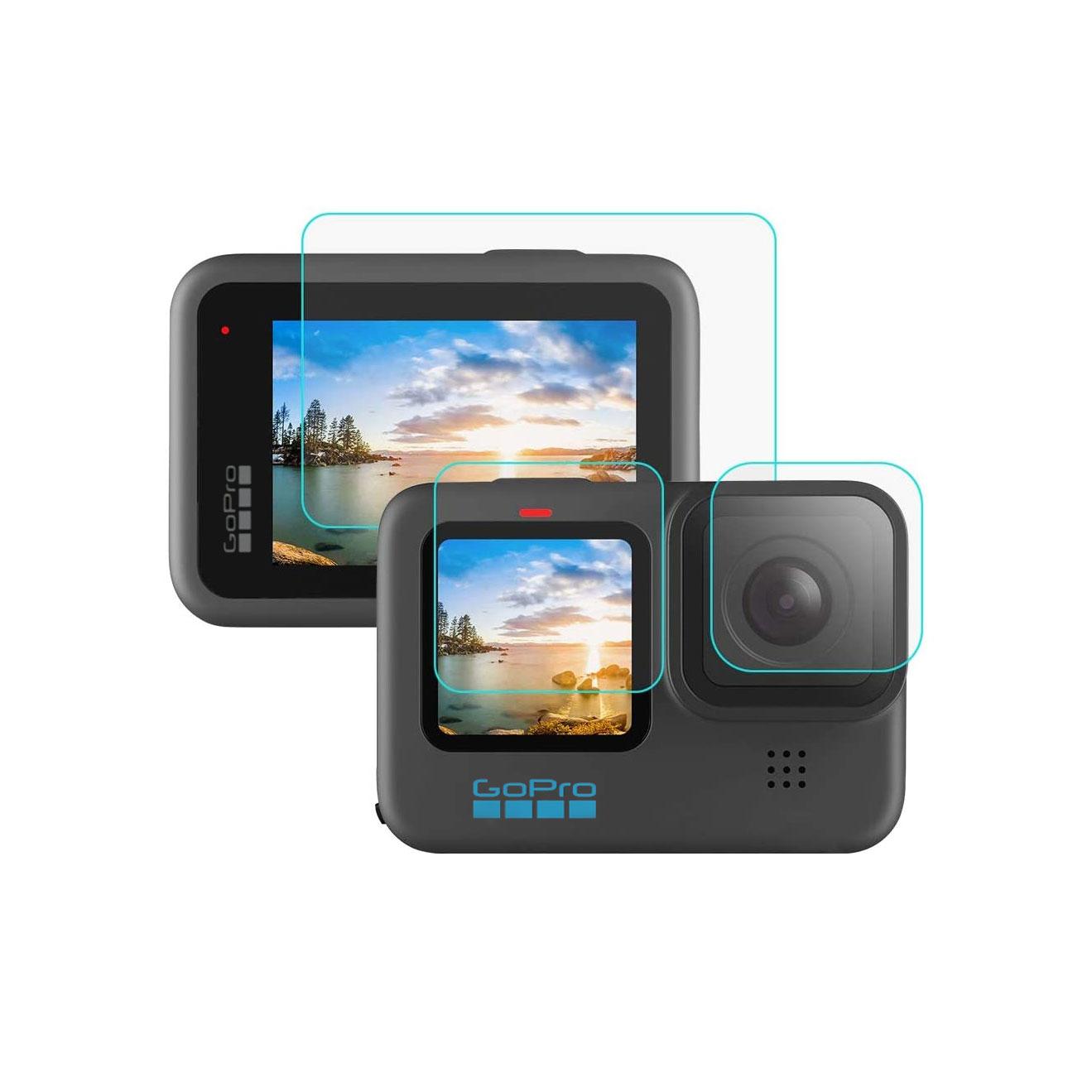 گلس محافظ صفحه نمایش و لنز دوربین گوپرو GoPro Hero 10 Black (سه تکه)