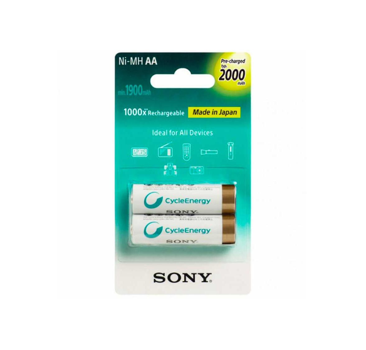 بسته دوتایی باتری قلمی قابل شارژ 2000mAh سونی