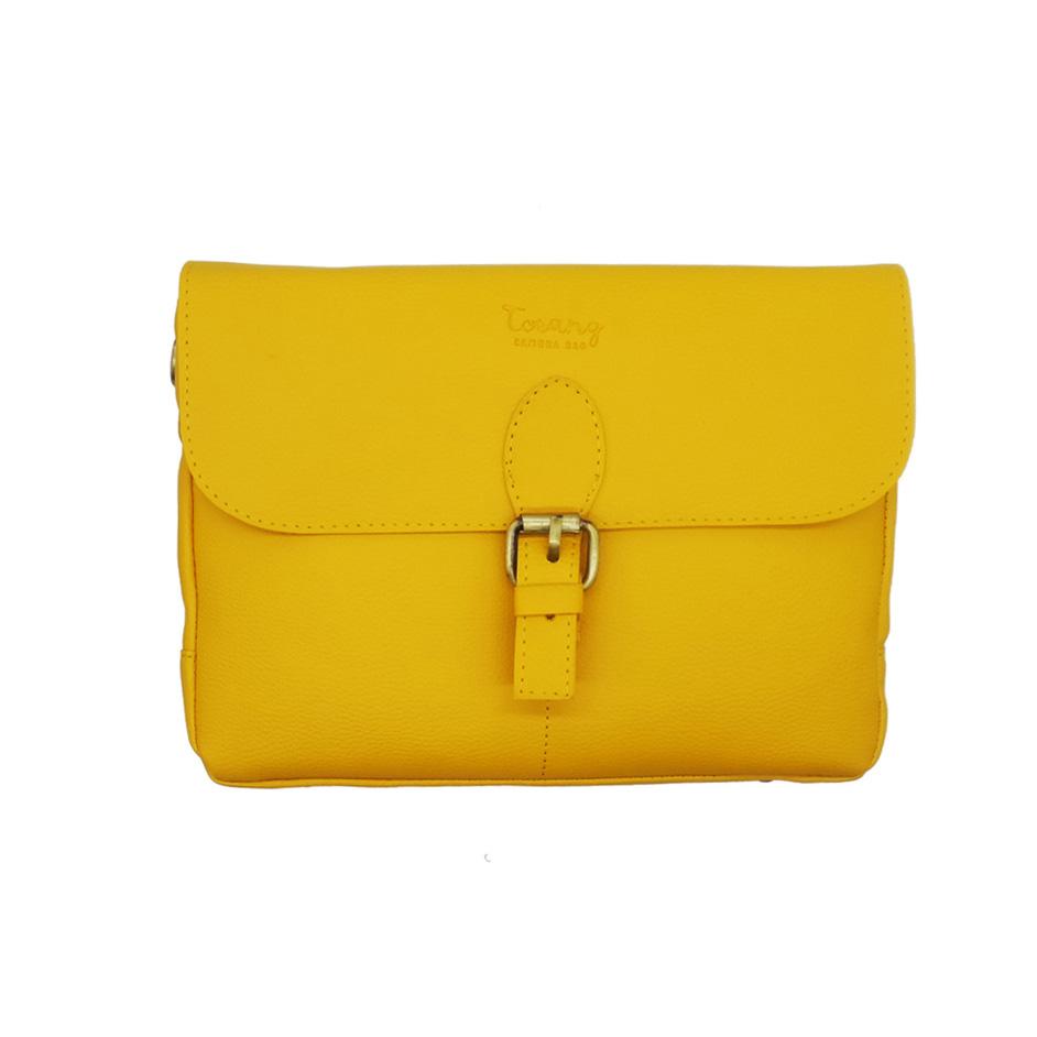 کیف چرمی دوربین عکاسی ترنگ رنگ خردلی
