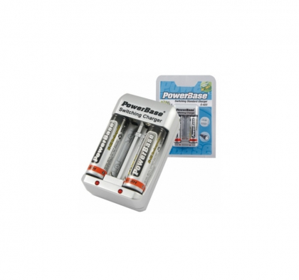 شارژر باتری 4 تایی (یک جفت قلمی/یک جفت نیم قلمی) PowerBase C-423